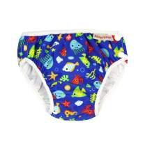 ImseVimse Eco Friendly Reusable Swim Diaper Made of Organic Cloth Sized for Infant to Toddler Boys (Blue Sea Life, NB 0-3M (9-13 lbs))