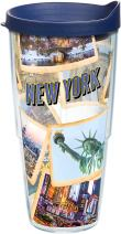 Tervis 1236311 New York Collage Tumbler with Wrap and Navy Lid 24oz, Clear