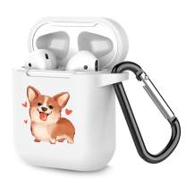 Airpods Case Personalized White TPU Soft Rubber Accessories Full Protective Shockproof Case for AirPods 2 & 1 Corgi