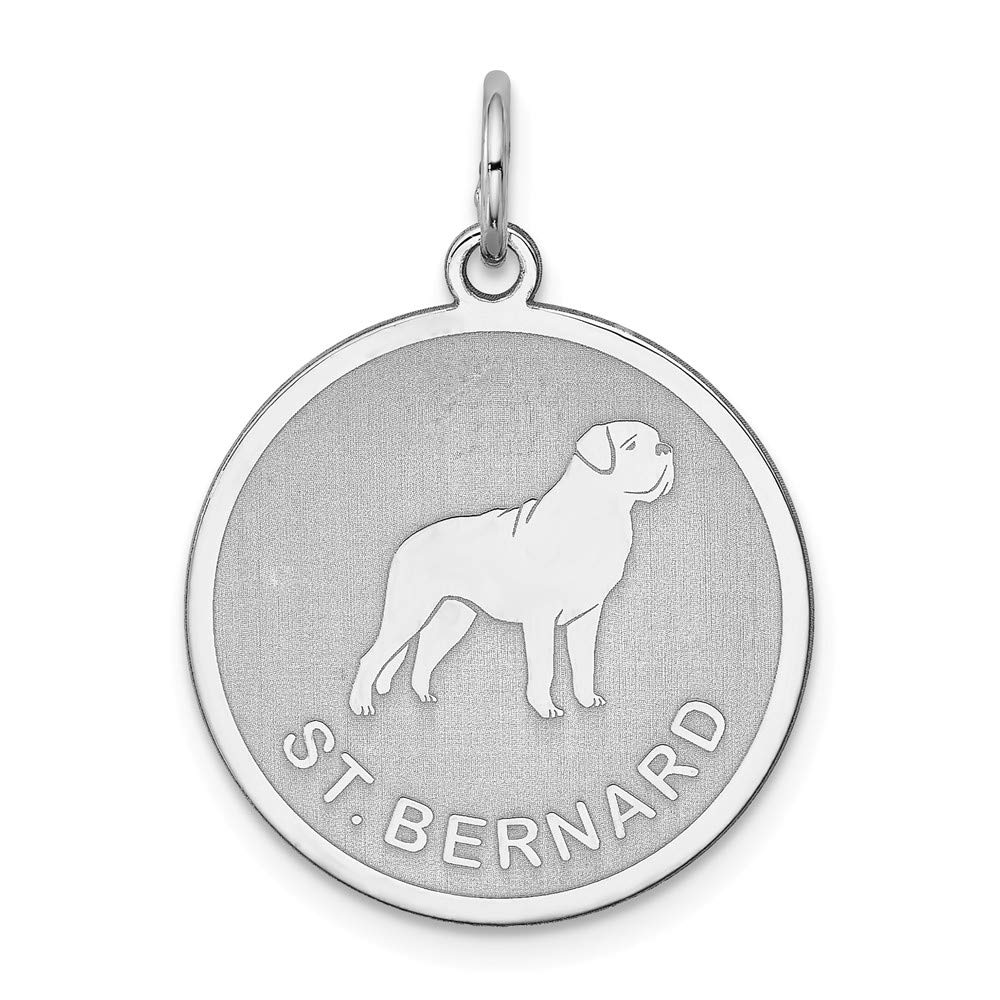 925 Sterling Silver Saint Bernard Disc Pendant Charm Necklace Animal Dog Engravable Round Fine Mothers Day Jewelry For Women Gifts For Her