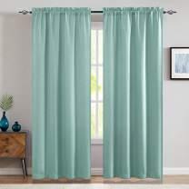 jinchan Linen Fabric Moderate Curtain Panels for Bedroom Room Darkening Drapes for Living Room Window Treatment Set 2 Panels 84-Inch Aqua Blue