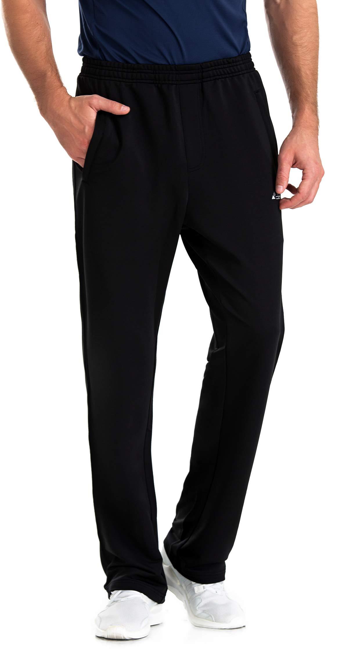 Clothin Men's Sweatpant with Zipper Pockets Elastic Waist Drawstring Pants for Athletic Jogging Running