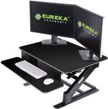 "EUREKA ERGONOMIC 32"" Height Adjustable Standing Desk Converter, Sit Stand Desk & Monitor Riser, Black"