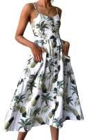 ECHOINE Women's Summer Dresses, Floral Boho Spaghetti Strap Button Down Swing Midi Beach Dress with Pockets