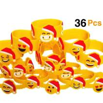 OHill Christmas Wristbands 36Pcs Christmas Bracelets Emoji Wristbands for Xmas Party Favors Supplies, Party Goodie Bags