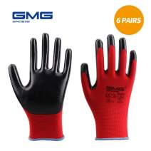 Work Gloves for Men and Women, Medium, Safety Smooth Nitrile Coated 13 Gauge Nylon Gloves for Gardening, Cleaning, or Automotive(6 Pairs, Red)