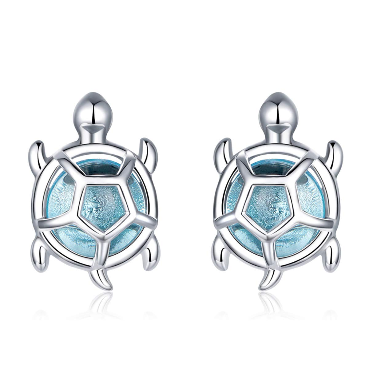 VOROCO Ocean-Series Sea Turtle Starfish Pearl Shel Anchor White Gold Plated 925 Sterling Silver Cubic Zirconia Stud Earrings Gifts for Women Girls