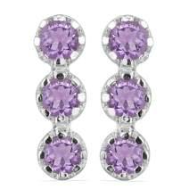 JewelPin Round Shape Natural Gemstone Sterling Silver Bezel Set Earrings for Women