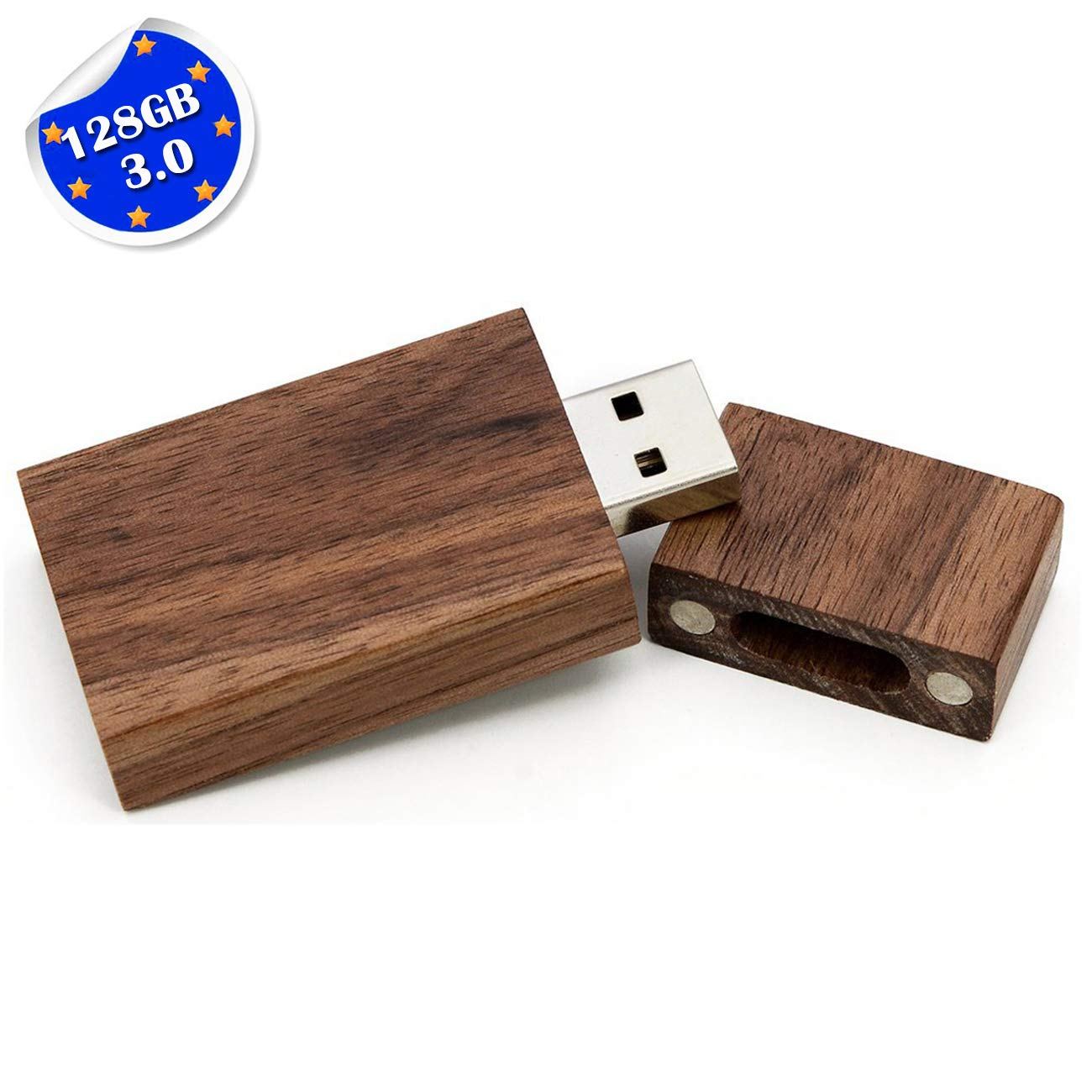 128GB Wooden Flash Drive USB 3.0, EASTBULL High Speed Walnut Wood USB Flash Drive Thumb Drive Memory Stick with Wood Box (Dark Brown-1PCS)