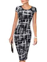 MOMTUESDAYS2 Women's Retro Bodycon Below Knee Formal Office Dress Pencil Dress with Back Zipper