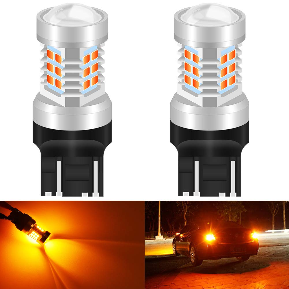 KATUR 7443 7444NA LED Bulbs Yellow High Power Extremely Bright 2835 Chipsets with Projector for Turn Signal Lights (Pack of 2)
