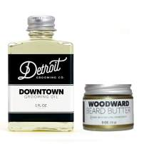 Detroit Grooming Co. Beard Oil-Butter Combo - Downtown Oil (1oz) and Woodward Butter (0.5oz) - All Natural Daily Oil Conditions Skin, Promotes Growth and Relieves Itch - Use Beard Butter for Styling