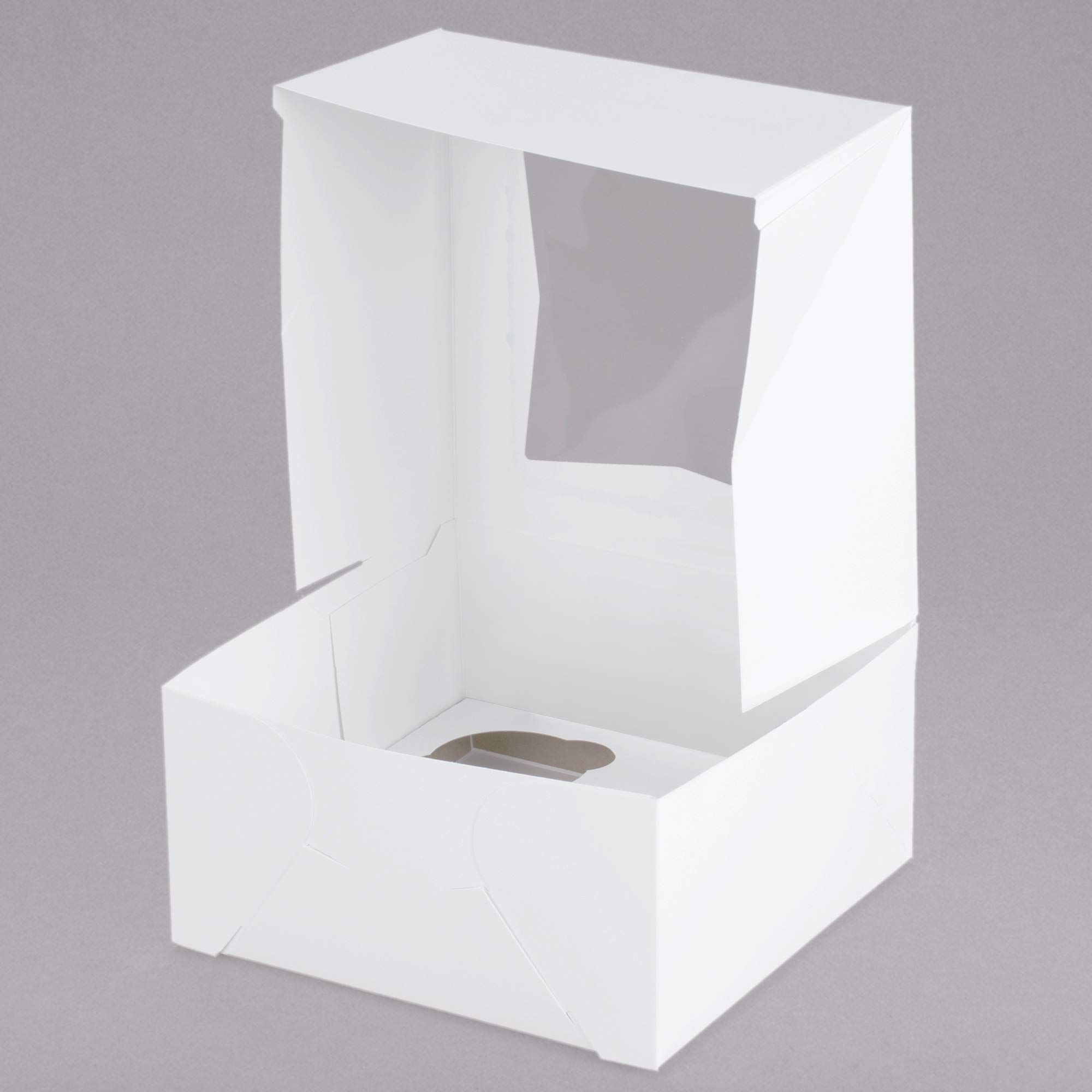 tekbotic 4 Count Cupcake Boxes Four Pack Paper Box with Window (4-Cup, Pack of 25)