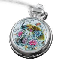 VIGOROSO Men's Pocket Watch Quartz Colorful Peacock Flowers Enamel Ceramic Smooth Silver in Gift Box