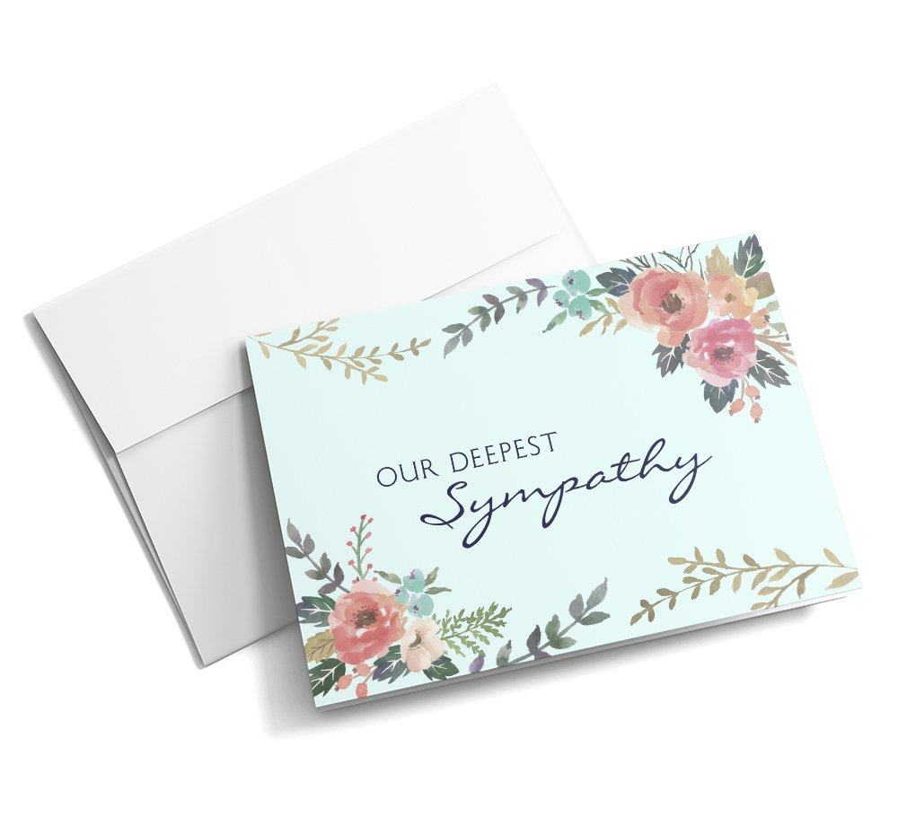 Flowering Empathy - Sympathy Cards | 25 Standard Greeting Cards with Your Custom Message and Envelopes | Printed in the USA