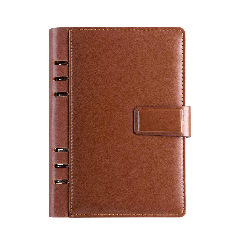 Leather Binder Journal 6 Rings Refillable Papers Organizer Diary Lined&Dotted&Blank Diary,A5 Diary,Pen Holder,Cards Pocket