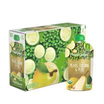 Happy Baby Organic Clearly Crafted Stage 2 Baby Food Pears, Zucchini & Peas, 32 Ounce, Pack of 2