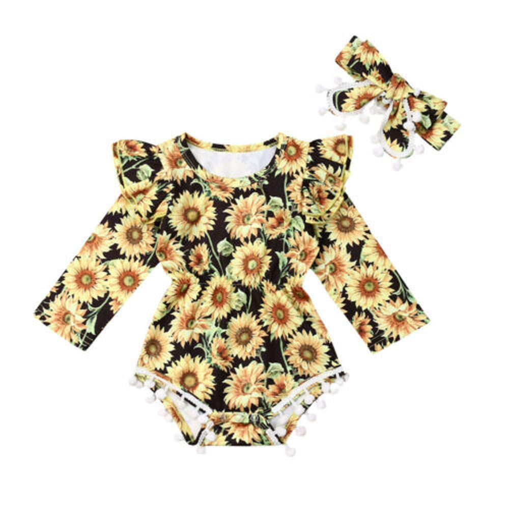 Newborn Baby Girls Sunflower Romper Ruffle Bodysuit Floral Jumpsuit Overalls with Headband Outfits Clothes