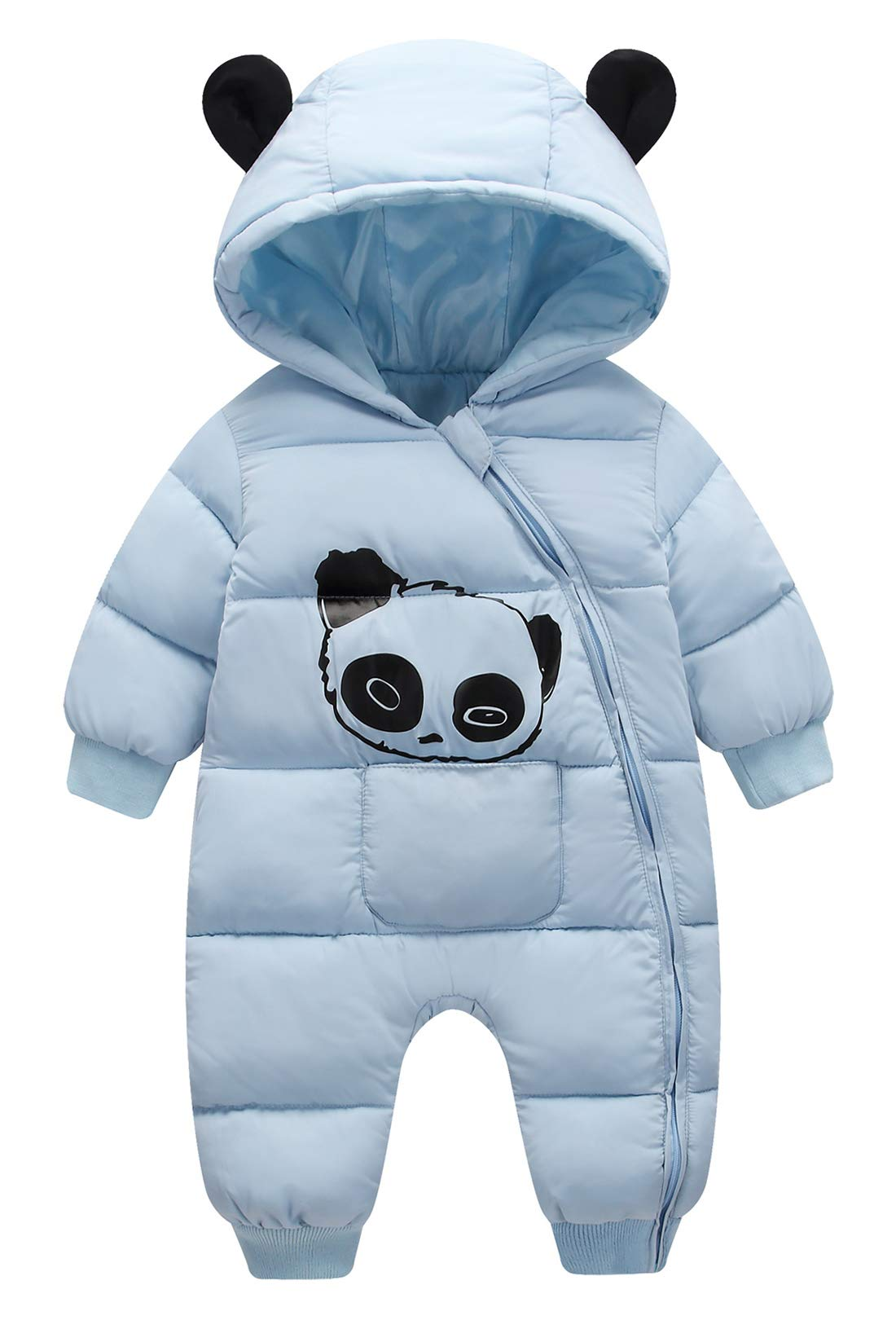 Happy Cherry Toddler Cotton Romper Onesie Snowsuits for Boys Winter Soft Puffer Jumpsuit Infant Outerwear