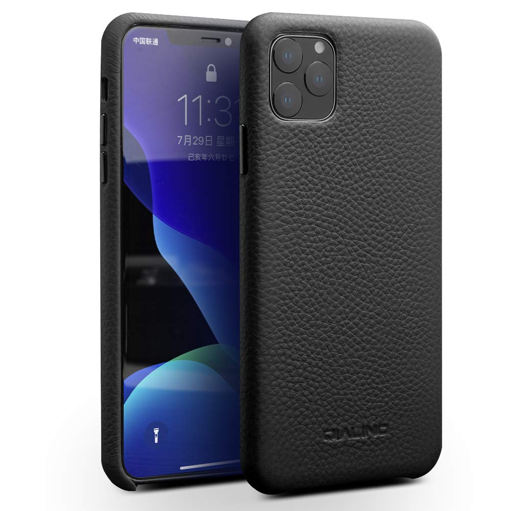 QIALINO iPhone 11 Pro Max Case Genuine Leather Secure Fit Phone Bumper with Raised Edge Protection and Ultra Thin Sleeve iPhone 11 Pro Max Covers Support Wireless Charging(Black 6.5 inch)