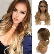 Balayag Natura Wave Human Hair Wigs for Women Lace Front Wigs Bleached Knots Two Tone Ombre Highlights Color T4/27 Glueless 13x6 Lace Frontal Wigs with Baby Hair Around 18 Inch