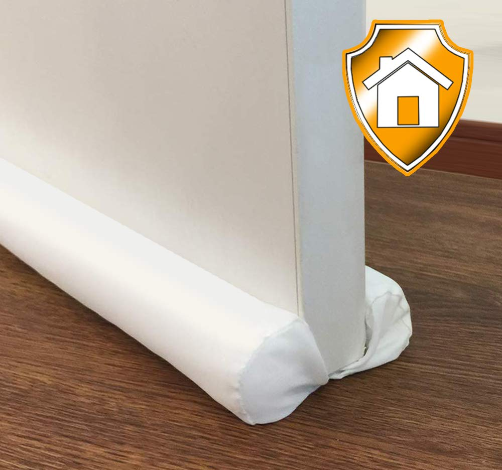 """MAXTID Door Draft Stopper White Double Sided Draft Guard Sound Proof Blocker Cold Air Stopper - Adjustable 32 to 38"""""""