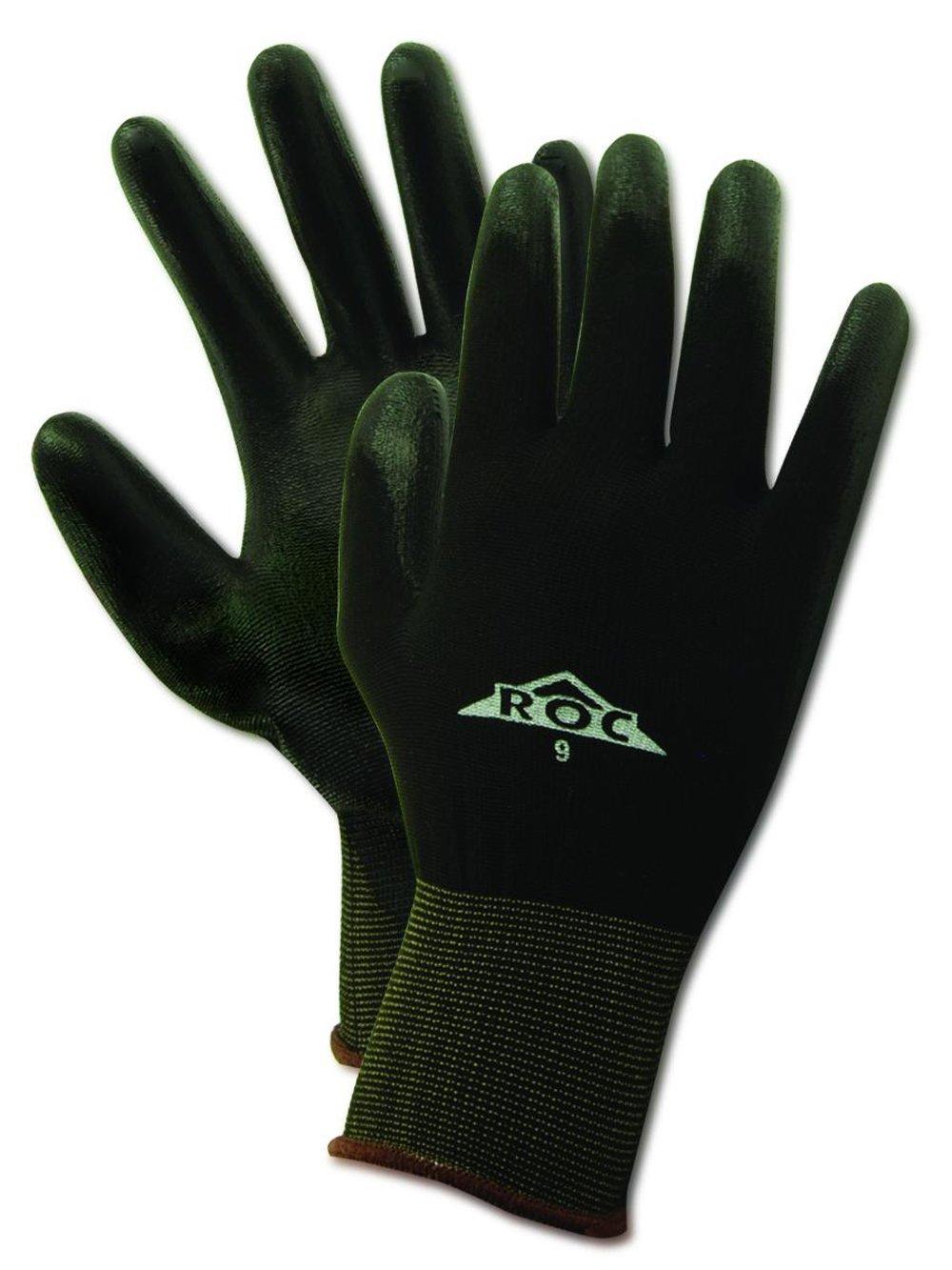 "MAGID ROC BP170 Nylon Glove, Black Polyurethane Palm Coating, Knit Wrist Cuff, 8"" Length, Size 7 (12 Pair)"