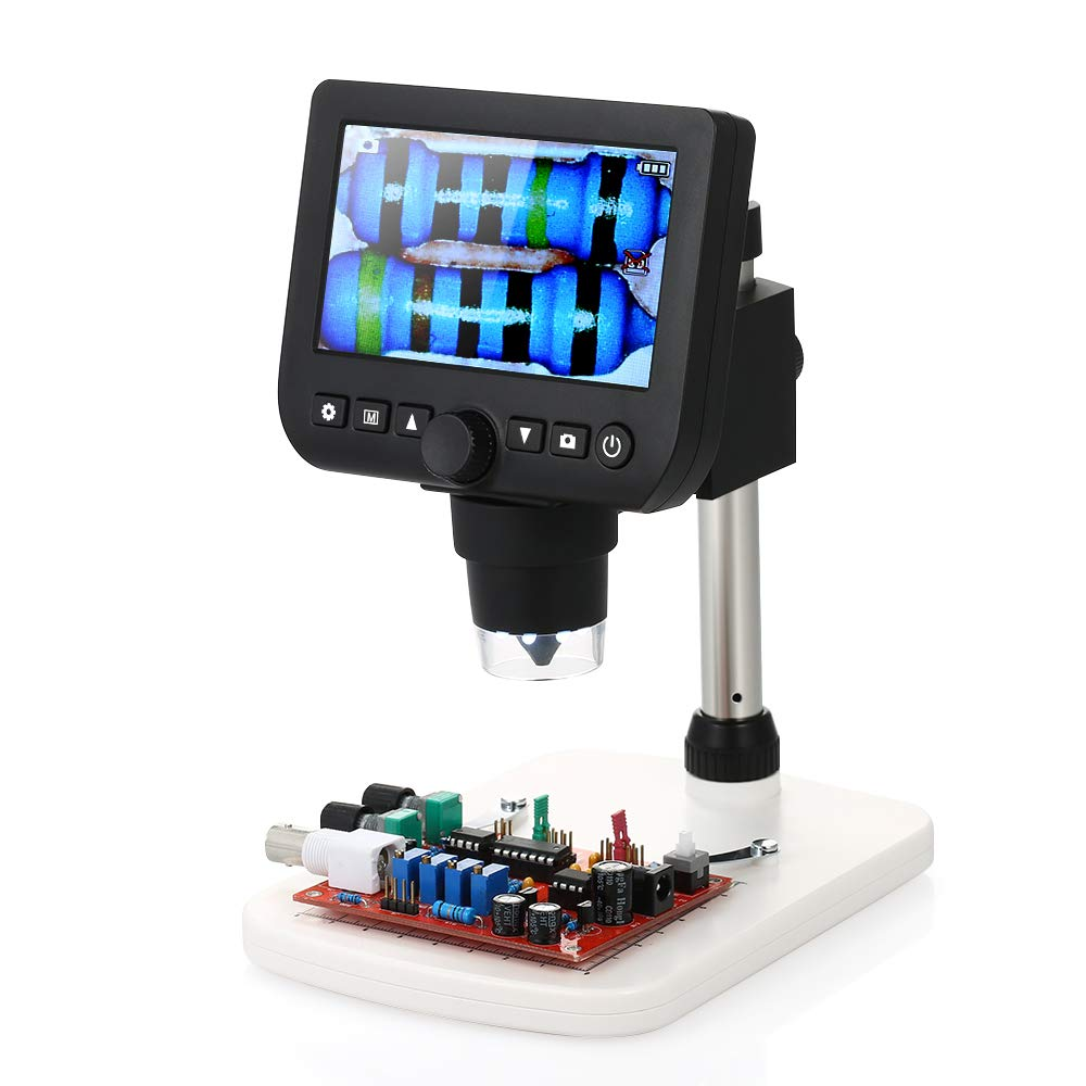 """Microscope, KKmoon Digital Inspection Microscope 4.3"""" LCD 800X Magnicication TV Output 3.0MP Video & Photo Capture Magnifier with Stand and 8pcs LED Adjustable Light Source"""
