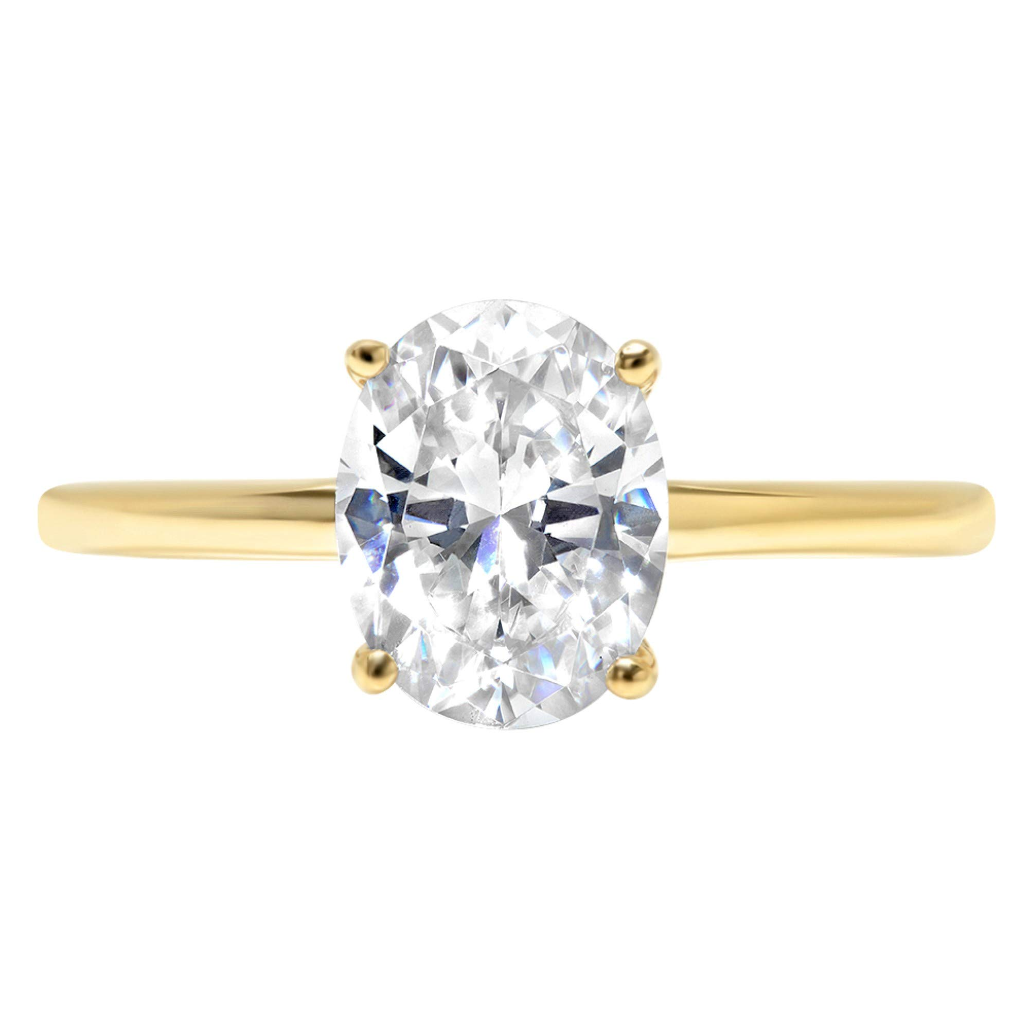 1.9ct Brilliant Oval Cut Solitaire Highest Quality Lab Created White Sapphire Ideal VVS1 D 4-Prong Engagement Wedding Bridal Promise Anniversary Ring Solid Real 14k Yellow Gold for Women