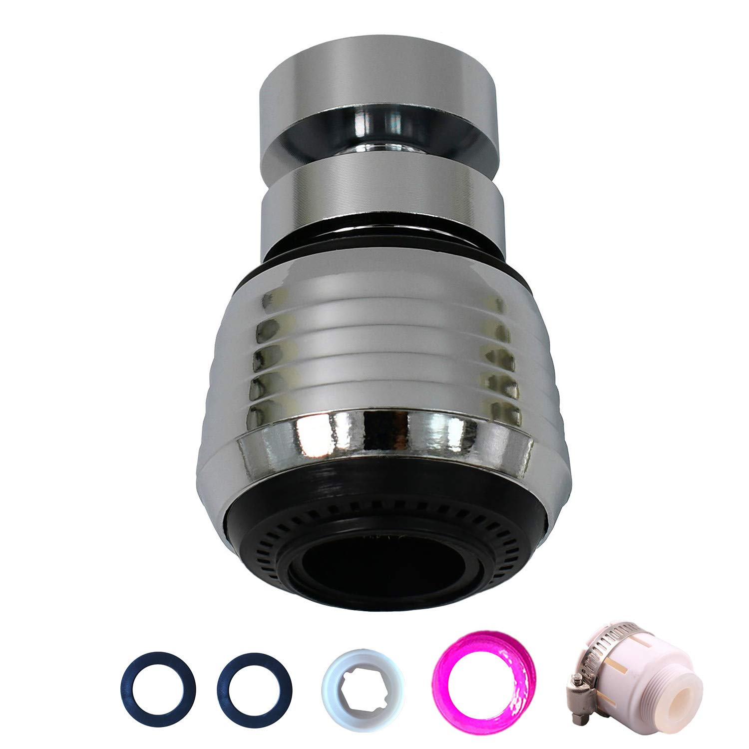 Faucet Sprayer Head Attachment 360 Aerator Extension Abs And Stainless Steel Adaptor Polished Chrome For Kitchen Sink Bathroom Taps Cold Hot Water Black