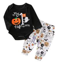 Emmababy Baby Boys Girls First Christmas Outfit My 1st Halloween Pajamas Bodysuit Romper and Pants Costume