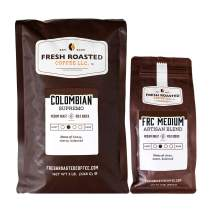 Fresh Roasted Coffee LLC, Colombian Supremo (5 lb) / Medium Roast Blend (12 oz), Bundle, Whole Bean