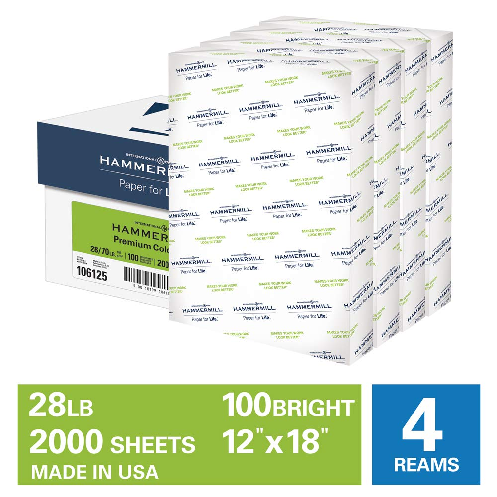 Hammermill Premium Color Copy 28lb Copy Paper, 12 x 18, 4 Ream Case, 2000 Sheets, Made in USA, Sourced From American Family Tree Farms, 100 Bright, Acid Free, Color Copy Printer Paper, 106125C