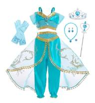 Jurebecia Princess Costume for Girls Princess Dress up Fancy Birthday Party Role Play Outfit Blue 2-10 Years