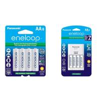 Panasonic BK-3MCCA8BA eneloop AA 2100 Cycle Ni-MH Pre-Charged Rechargeable Batteries, 8 Pack & Advanced Individual Cell Battery Charger Pack with 4 AA eneloop 2100 Cycle Rechargeable Batteries