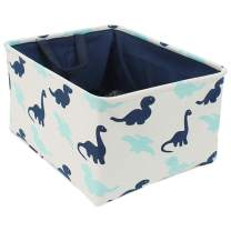 """uxcell Storage Basket Bin with Cotton Handles, Fabric Storage Bins with Drawstring Closure for Clothes Towel Toys Organizer, (X-Large - 17.7"""" x 13.8"""" x 9.8""""), Navy Blue Dinosaur"""
