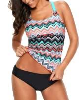 Lealac Womens Summer Fashion Striped Printed Strappy Racerback Tankini Swim Top No Bottom