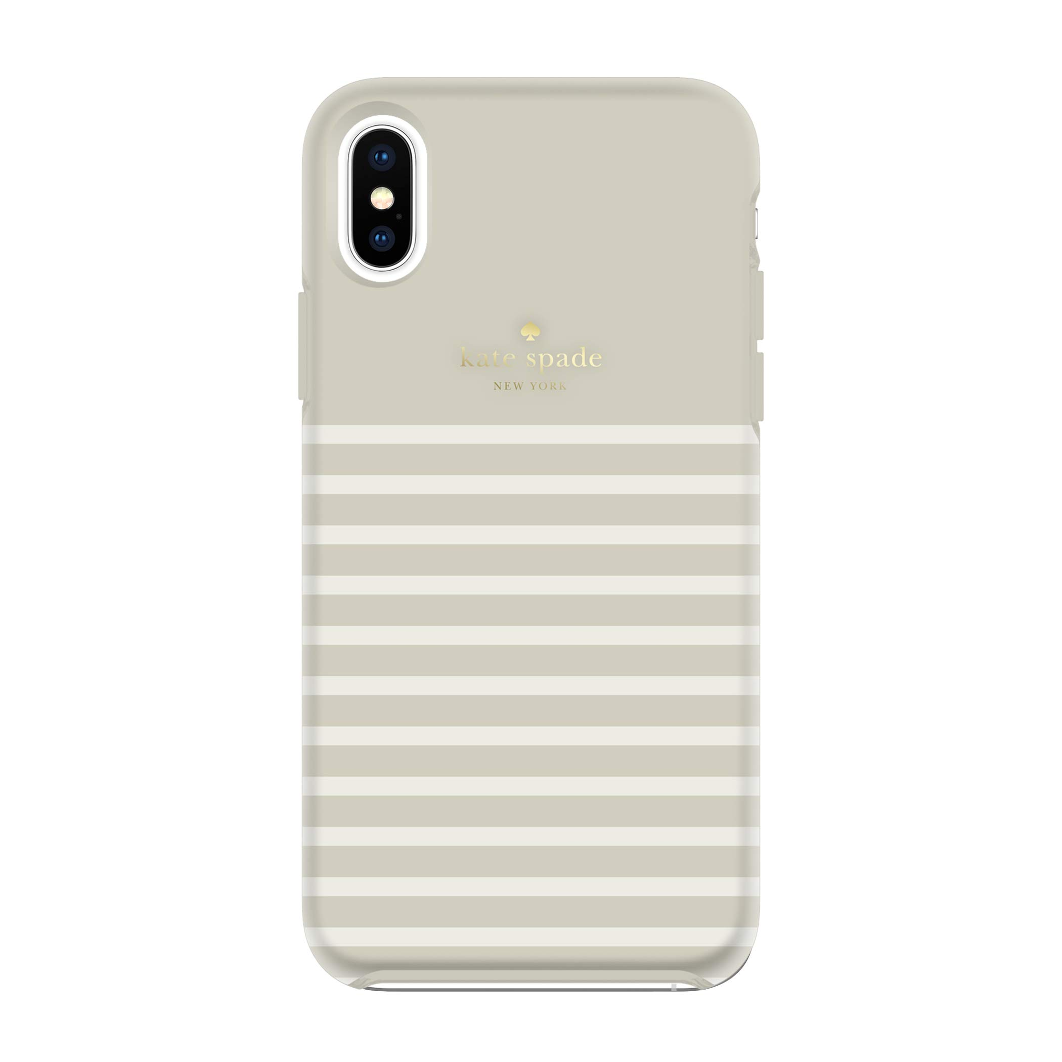 kate spade new york Clocktower Grey/Cream Feeder Stripe Case for iPhone Xs Max - Soft Touch Protective Hardshell