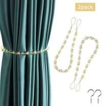 BEL AVENIR Curtain Crystal Beaded Tiebacks Decorative Curtain Holdbacks Rope with 2 Metal Hooks - Golden 2 Pack