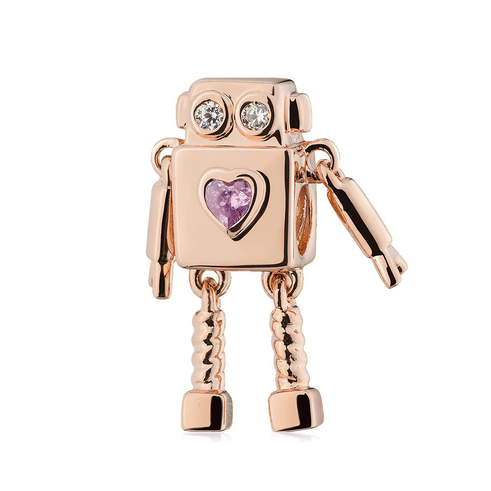 ATHENAIE Silver Sparkling Rose Gold CZ Cute Alien Robot Love Travel Hot Air Balloon Charms Beads for Bracelet
