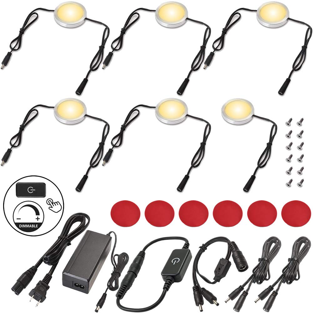 Lvyinyin Under Cabinet LED Lighting Kit Hardwired & Wall Plug, Touch Dimmable, 120V to 12V Puck for Kitchen Closet Counter Lighting, 6 Lights, Warm White