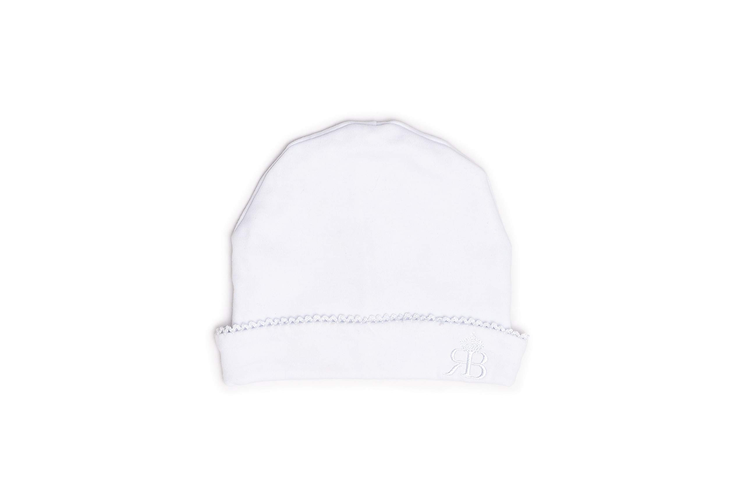 RB Royal Baby Organic Cotton Beanie Hat Super Soft Infant Cap Chic Pattern (Rb White)