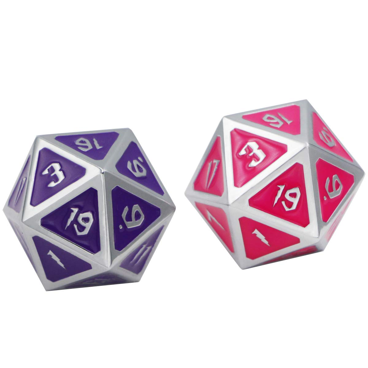 1 Single Big D20 Metal Dice 30mm DNDWoW Color Change Die Between Purple and Pink with Silver Numbers - BWSZP