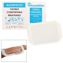 """Houseables Transparent Film Dressing, Wound Cover Bandages, Clear, 5.9"""" x 7.87"""", Post Surgical Skin Patch, Sterile Protection, Breathable Pressure Seal, Waterproof Guard, Shower Shield"""