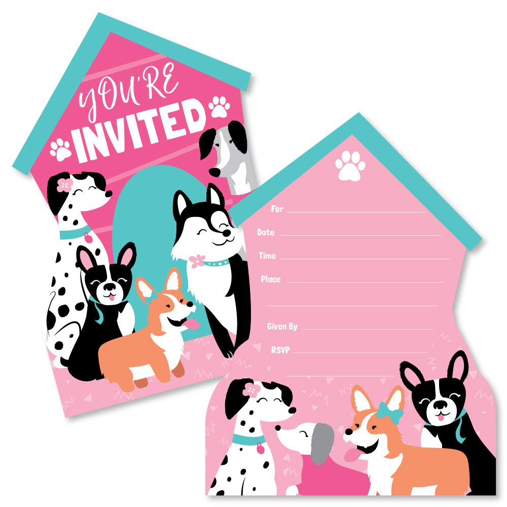 Pawty Like a Puppy Girl - Shaped Fill-in Invitations - Pink Dog Baby Shower or Birthday Party Invitation Cards with Envelopes - Set of 12