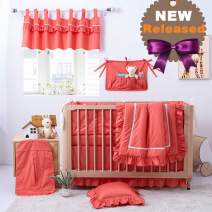 Brandream Baby Girl Nursery Crib Bedding Sets with Crib Bumpers Unique Coral Bedding 800TC Egyptian Cotton, 11 Pieces Baby Shower Gift