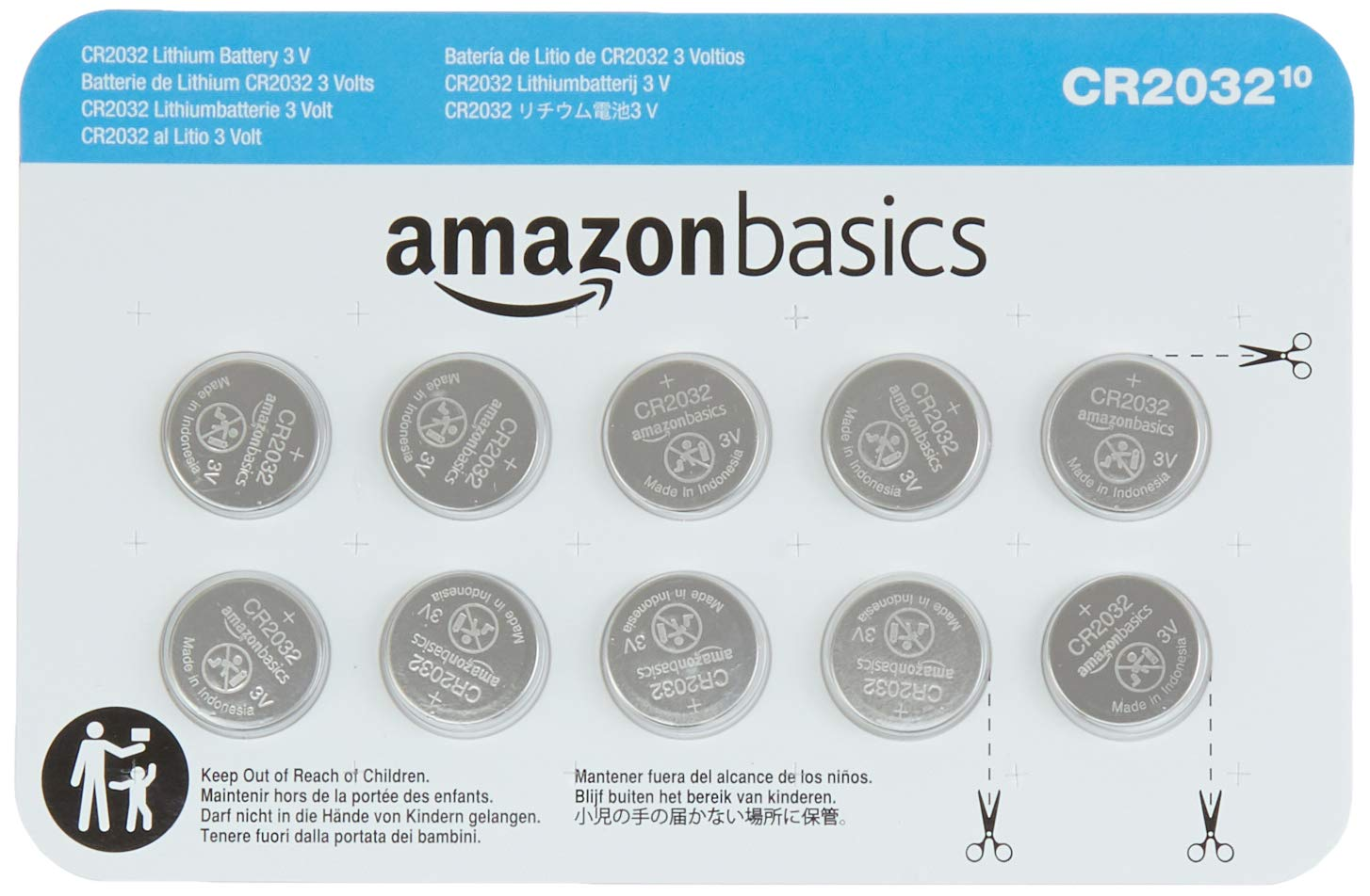 AmazonBasics CR2032 3 Volt Lithium Coin Cell Battery - 10-Pack
