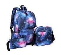 Baonmy Unisex Teen Canvas Backpack Set,3Pcs Galaxy School Backpack Fashion Patterned Bookbag Laptop (Dark Blue)