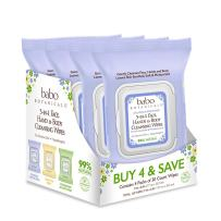 Babo Botanicals Calming 3-in-1 Face, Hand & Body Wipes with French Lavender and Organic Meadowsweet, For Babies, Kids or Sensitive Skin - 4-Pack 30 ct.