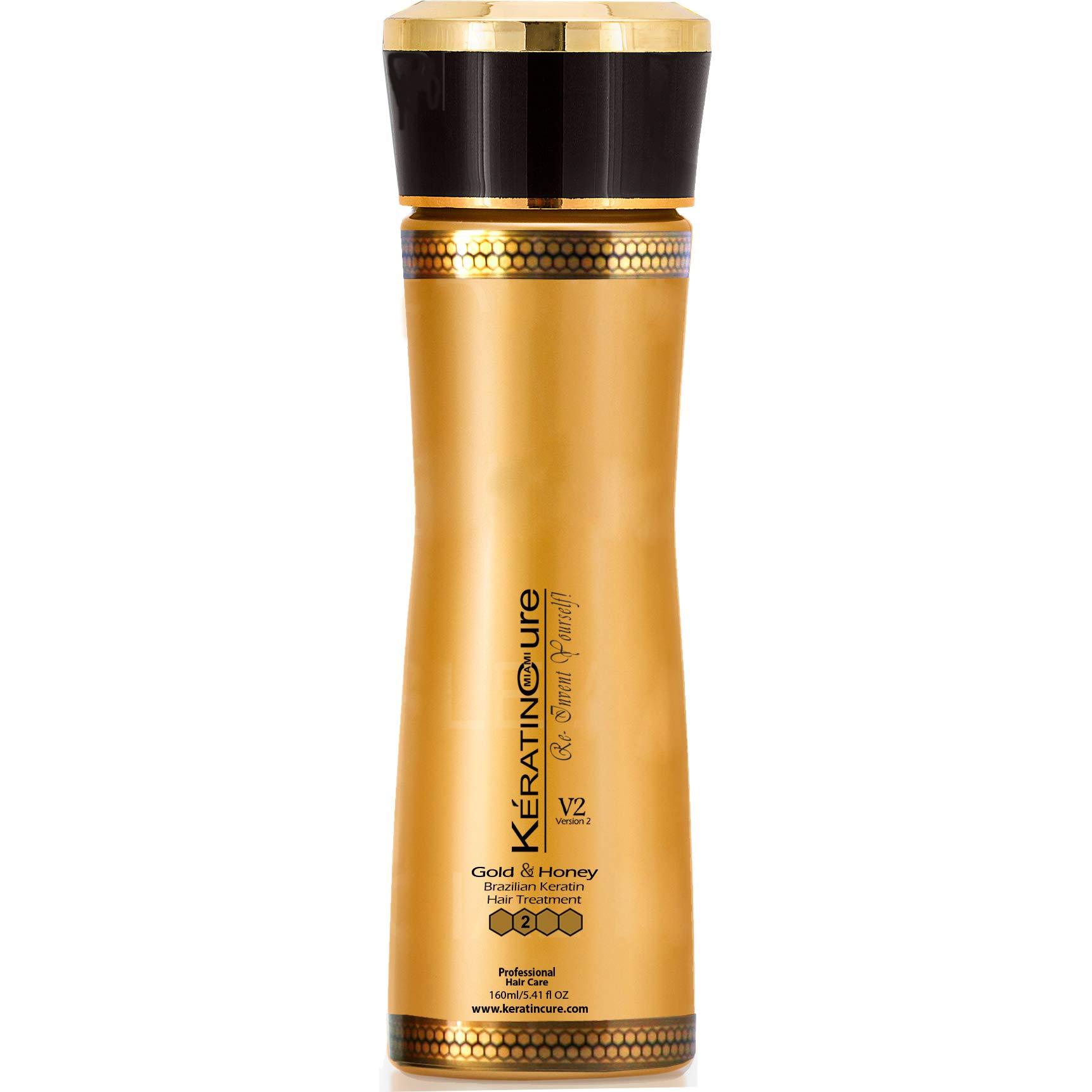 Keratin Cure Best Treatment Gold and Honey V2 Creme 5 Ounces Intensive Collagen Professional Complex with Argan Oil Nourishing Straightening Damaged Dry Frizzy Coarse Curly African Ethnic Wavy Hair